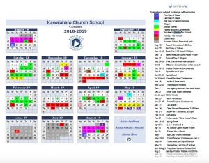 Quick Glance Calendar Kawaiahaʻo Church School